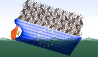 Illustration on the dangers to Europe from the refugee wave by Alexander Hunter/The Washington Times