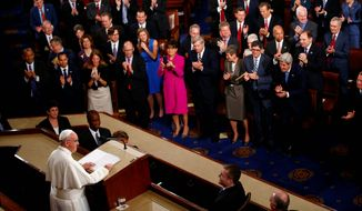 """It is my wish that throughout my visit, the family should be a recurrent theme,"" Pope Francis said in his address to Congress. ""Yet I cannot hide my concern for the family, which is threatened, perhaps as never before, from within and without. Fundamental relationships are being called into question, as is the very basis of marriage and the family."" (Associated Press)"
