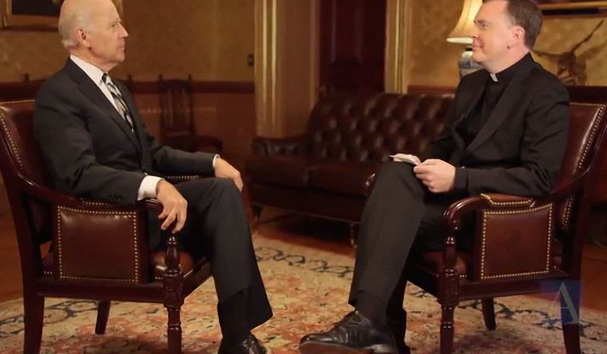 Vice President Joseph Biden sat down for an exclusive interview with Father Matthew Malone, SJ, the editor-in-chief of America Media. (Screenshot of video, courtesy of American Media)