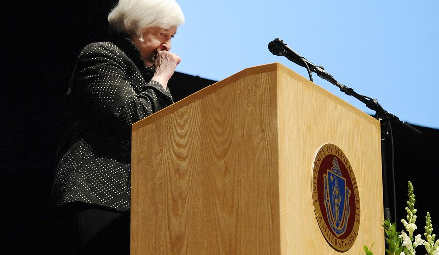 Federal Reserve Chair Janet Yellen coughs and takes a long pause during a speech at the University of Massachusetts, Thursday, Sept. 24, 2015, in Amherst, Mass. The Federal Reserve says Yellen felt dehydrated at the end of the speech and was seen by medical personnel as a precaution. Yellen was delivering a 23-page speech on inflation when toward the end of the speech, she paused for a period of time, giving the appearance of losing her place in the text. She then resumed speaking, saying she wanted to wrap up. She was helped from the stage. (AP Photo/Jessica Hill)