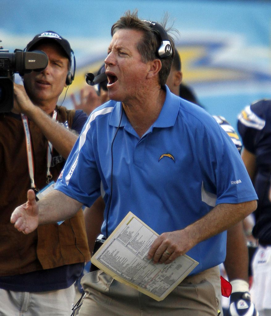 FILE - In this Nov. 15, 2009, file photo, San Diego Chargers coach Norv Turner gestures during his teams' 31-23 victory over the Philadelphia Eagles in San Diego. Norv Turner spent six seasons as San Diego's head coach. Now he's the offensive coordinator for Minnesota, about to see some familiar faces when the Vikings host the Chargers this Sunday. (AP Photo/Denis Poroy, File)