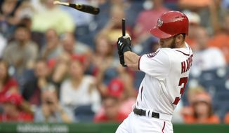 Washington Nationals' Bryce Harper breaks his bat as he grounds out during the third inning of an interleague baseball game against the Baltimore Orioles, Thursday, Sept. 24, 2015, in Washington. (AP Photo/Nick Wass)