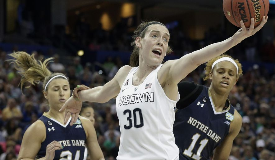 FILE - In this April 7, 2015, file photo, Connecticut forward Breanna Stewart (30) recovers a rebound as Notre Dame guard Hannah Huffman (24) and forward Brianna Turner (11) look on during the second half of the NCAA women's Final Four tournament college basketball championship game  in Tampa, Fla. The WNBA holds its annual draft lottery, Thursday, Sept. 24, 2015, with the right to pick UConn star Breanna Stewart at stake. (AP Photo/Brynn Anderson, File)