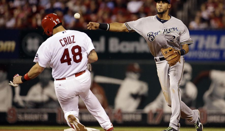 St. Louis Cardinals' Tony Cruz, left, is out at second as Milwaukee Brewers shortstop Yadiel Rivera turns the double play during the third inning of a baseball game on Thursday, Sept. 24, 2015, in St. Louis. (AP Photo/Jeff Roberson)