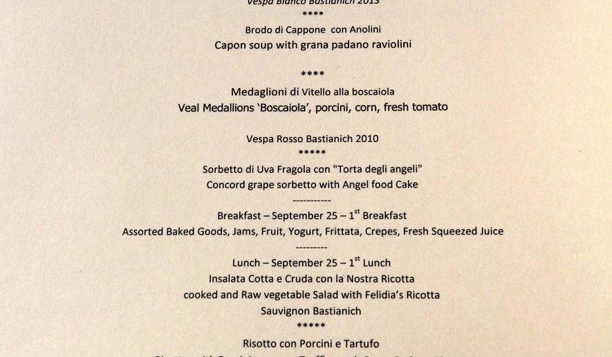 This Sept. 17, 2015 photo, shows the menu for Pope Francis's visit in New York, at Felidia restaurant. Felidia restaurateur Angelo Vivolo and owner Lidia Bastianich is preparing meals for Pope Francis during the visit. (Courtesy of Lidia Bastianich via AP)