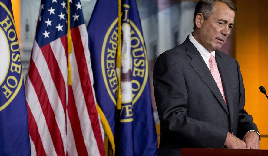 House Speaker John Boehner of Ohio speaks during a news conference on Capitol Hill in Washington, Friday, Sept. 25, 2015. In a stunning move, Boehner informed fellow Republicans on Friday that he would resign from Congress at the end of October, stepping aside in the face of hardline conservative opposition that threatened an institutional crisis.  (AP Photo/Jacquelyn Martin)
