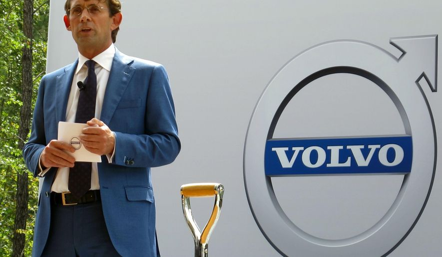 Lex Kerssemakers, the CEO of Volvo Cars of North America, speaks Friday, Sept. 25, 2015, near Ridgeville, S.C., during the ground breaking for the company's first auto assembly plant in North America. The company announced that the plant will make its new S60 sedan which is currently under development in Sweden. The first cars are expected to roll off the assembly line in 2018. (AP Photo/Bruce Smith)