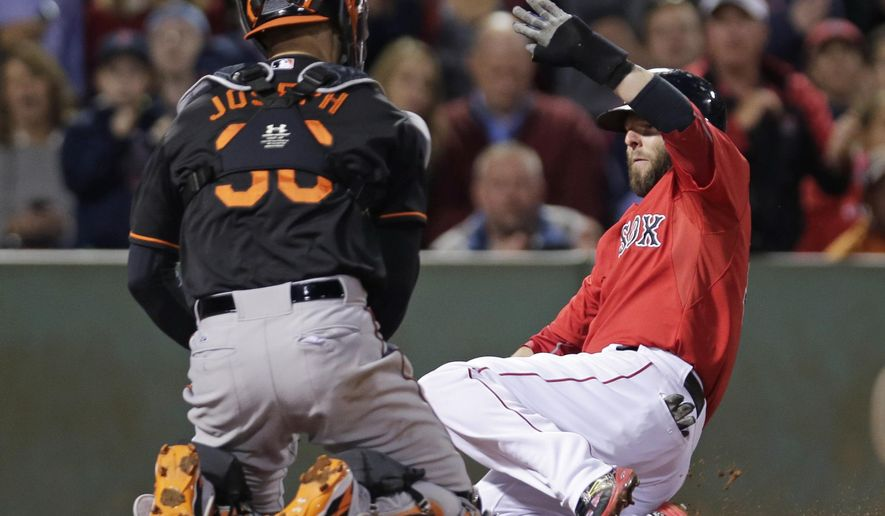 Baltimore Orioles catcher Caleb Joseph, left, tags out Boston Red Sox's Dustin Pedroia, who tried to score on a double by Xander Bogaerts, in the third inning of a baseball game at Fenway Park in Boston, Friday, Sept. 25, 2015. (AP Photo/Charles Krupa)