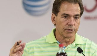 Alabama football coach Nick Saban talks with the media in his weekly news conference, Monday, Sept. 21, 2015, at Naylor-Stone Media Suite in Tuscaloosa, Ala. (Vasha Hunt/AL.com via AP) MAGS OUT; MANDATORY CREDIT