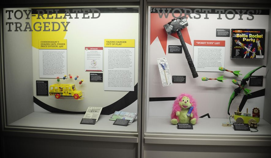 A display of unsafe toys are seen at The American Museum of Tort Law, Friday, Sept. 25, 2015, in Winsted, Conn.  The museum, which opens Saturday, has been developed by consumer advocate and two-time presidential candidate Ralph Nader as a kind of ode to the jury system. (AP Photo/Jessica Hill)