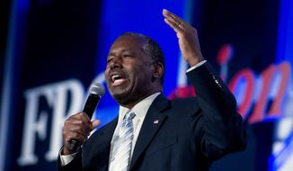 Republican presidential candidate, retired neurosurgeon Ben Carson speaks during the Values Voter Summit, held by the Family Research Council Action, Friday, Sept. 25, 2015, in Washington. ( AP Photo/Jose Luis Magana) ** FILE **