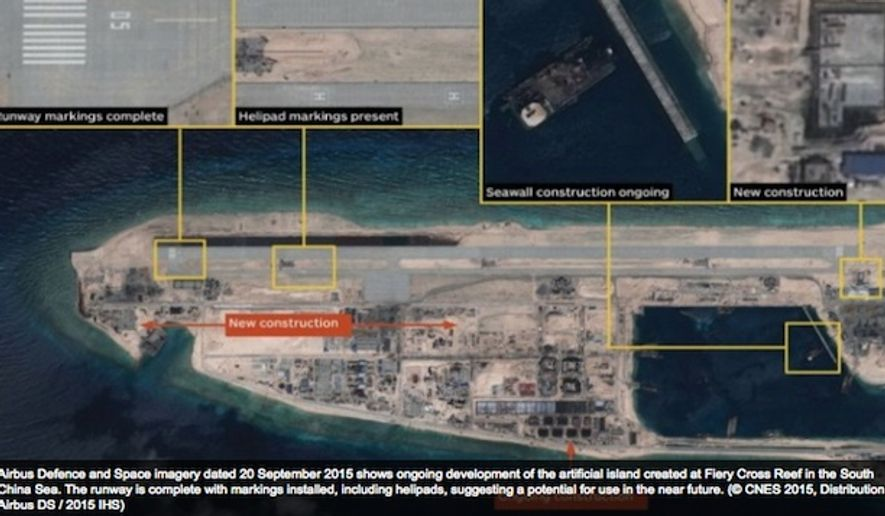 Satellite images show China has completed the first of three airstrips in the Spratly islands. (Image: screen grab IHS Janes)