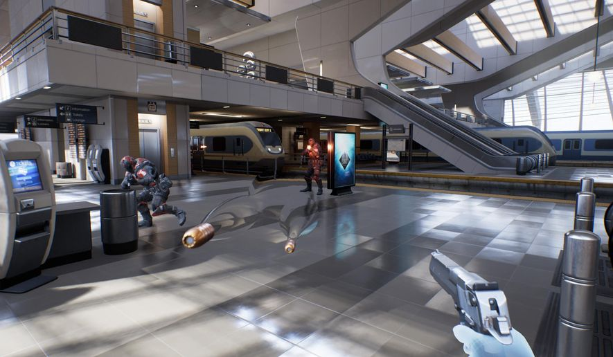 "This video game image released by Epic Games shows a scene from ""Bullet Train,"" where users can teleport across a train station, shoot baddies, bend time and catch bullets.  (Epic Games via AP)"