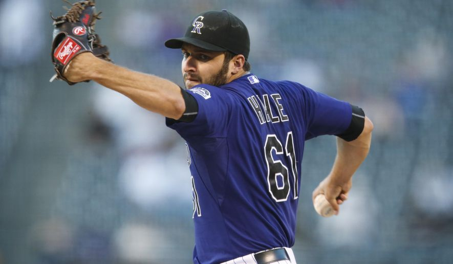 Colorado Rockies starting pitcher David Hale works against the Los Angeles Dodgers duirng the first inning of a baseball game Friday, Sept. 25, 2015, in Denver. (AP Photo/David Zalubowski)