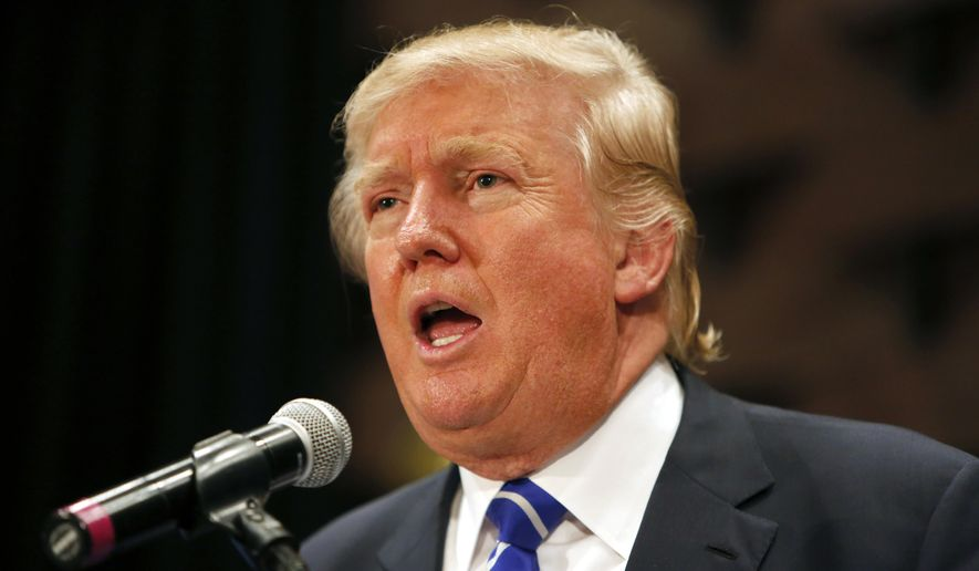 In this Sept. 23, 2015, photo, Republican presidential candidate, businessman Donald Trump, speaks at an event sponsored by the Greater Charleston Business Alliance and the South Carolina African American Chamber of Commerce at the Charleston Area Convention Center in North Charleston, S.C. (AP Photo/Mic Smith)