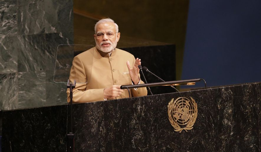 India Prime Minister Narendra Modi addresses the Sustainable Development Summit 2015, Friday, Sept. 25, 2015 at United Nations headquarters.  (AP Photo/Mary Altaffer)