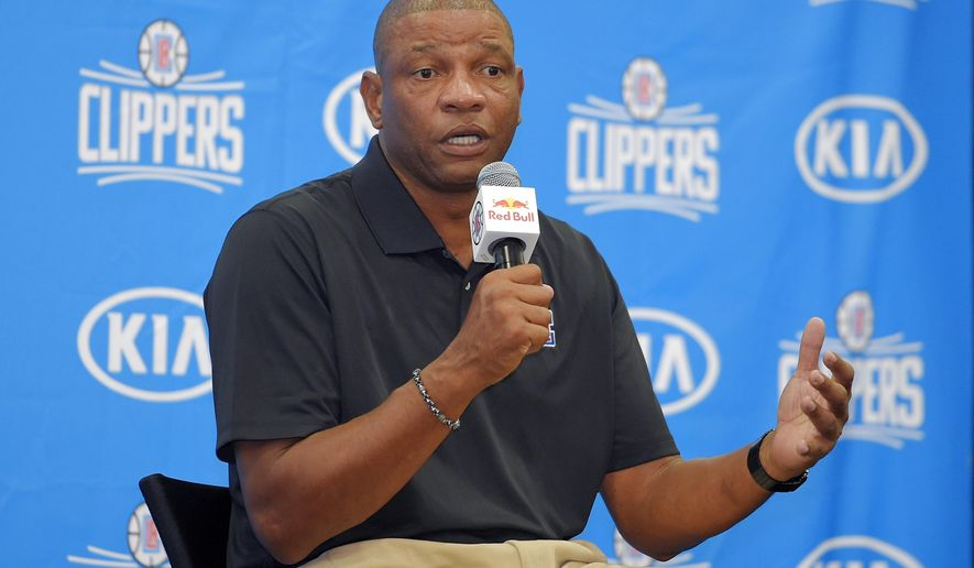 Los Angeles Clippers head coach Doc Rivers talks during the team's NBA basketball media day, Friday, Sept. 25, 2015, in Los Angeles. (AP Photo/Mark J. Terrill)