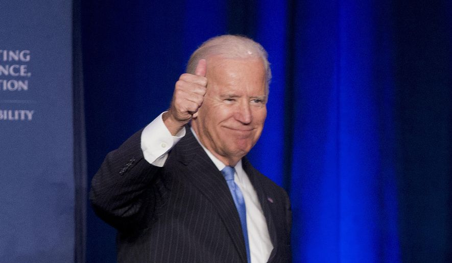 "Vice President Joe Biden gives a ""thumbs-up"" after speaking at the White House Initiative on Historically Black Colleges and Universities' (HBCU) National HBCU Week annual conference in Washington, in this Sept. 22, 2015, file photo. (AP Photo/Pablo Martinez Monsivais) ** FILE **"