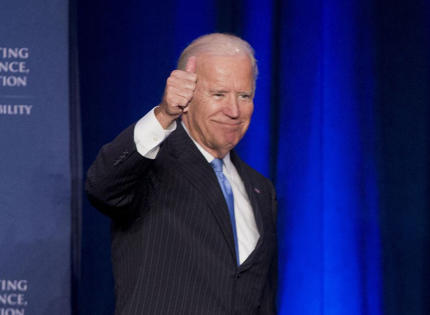 """Vice President Joe Biden gives a """"thumbs-up"""" after speaking at the White House Initiative on Historically Black Colleges and Universities' (HBCU) National HBCU Week annual conference in Washington, in this Sept. 22, 2015, file photo. (AP Photo/Pablo Martinez Monsivais) ** FILE **"""