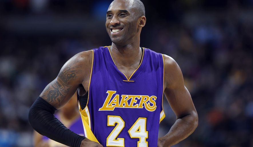 FILE - In this Dec. 30, 2014, file photo, Los Angeles Lakers guard Kobe Bryant stands on the court during a review in the fourth quarter of an NBA basketball game against the Denver Nuggets in Denver. Phil Jackson doubts this is Kobe Bryant's final season _ though thinks it may be Bryant's last in Los Angeles.  (AP Photo/David Zalubowski)