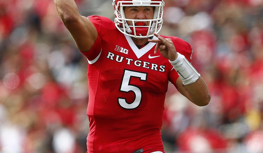 Rutgers quarterback Chris Laviano (5) throws a touchdown pass against Kansas during the second quarter of an NCAA college football game, Saturday, Sept. 27, 2015, in Piscataway, N.J. (AP Photo/Rich Schultz)