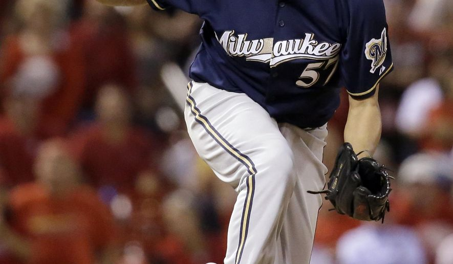 Milwaukee Brewers relief pitcher Francisco Rodriguez reacts after striking out St. Louis Cardinals' Matt Carpenter for the final out of a baseball game against the St. Louis Cardinals on Friday, Sept. 25, 2015, in St. Louis. The Brewers won 4-3. (AP Photo/Jeff Roberson)