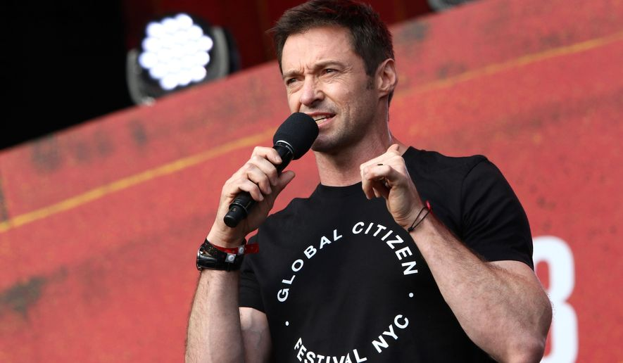 Hugh Jackman speaks at the Global Citizen Festival in Central Park on Saturday, Sept. 26, 2015, in New York. (Photo by Greg Allen/Invision/AP)