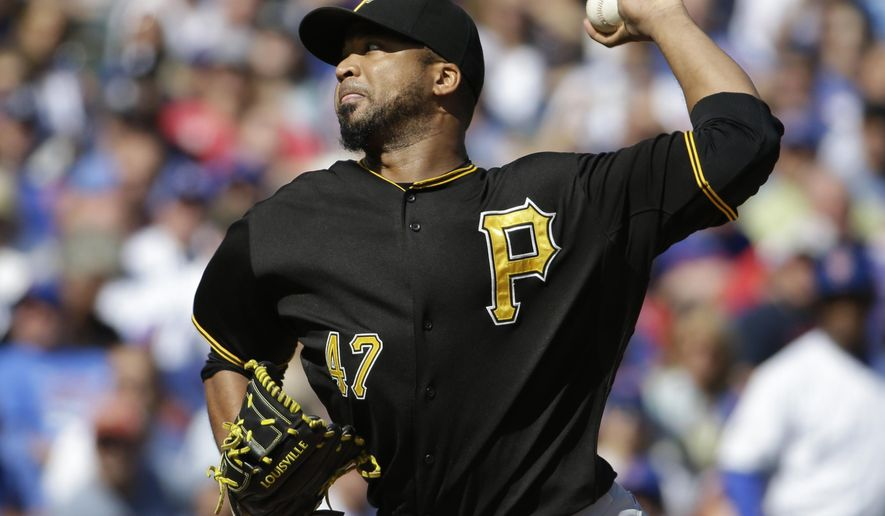 Pittsburgh Pirates starter Francisco Liriano throws against the Chicago Cubs during the first inning of a baseball game, Saturday, Sept. 26, 2015, in Chicago. (AP Photo/Nam Y. Huh)
