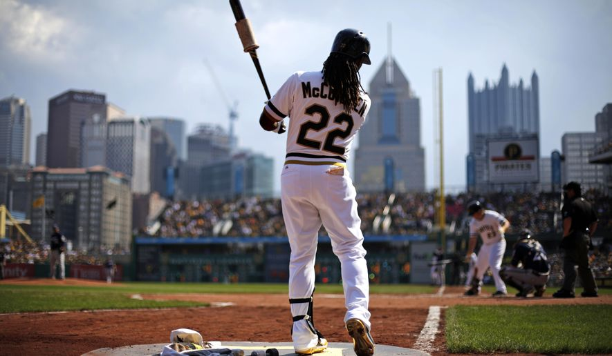 FILE - In this Sept. 21, 2014, file photo,  Pittsburgh Pirates' Andrew McCutchen (22) warms up on deck during the eighth inning of a baseball game against the Milwaukee Brewers in Pittsburgh. The core of McCutchen, Gerrit Cole and outfielders Starling Marte and Gregory Polanco is locked in through at least 2018. So are general manager Neal Huntington and manager Clint Hurdle, whose relentless optimism provided the perfect antidote to nearly two decades of angst. (AP Photo/Gene J. Puskar, File)