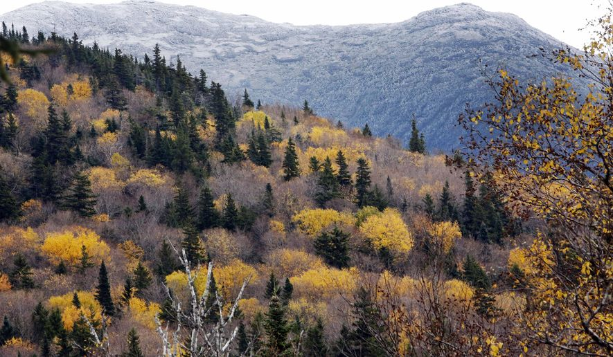FILE - In this Friday, Oct. 10, 2014 file photo, snow dusts the White Mountains Presidential Range as leaves change colors, seen from Jefferson, N.H. In 2015, about 8.5 million people are expected to visit New Hampshire in the fall, an increase of about 5 percent from the previous year, travel officials said, and the state has developed a new interactive foliage tracker. (AP Photo/Jim Cole)