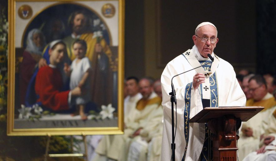 Pope Francis speaks during a Mass at Cathedral Basilica of Sts. Peter and Paul, Saturday, Sept. 26, 2015, in Philadelphia. (AP Photo/Julio Cortez)
