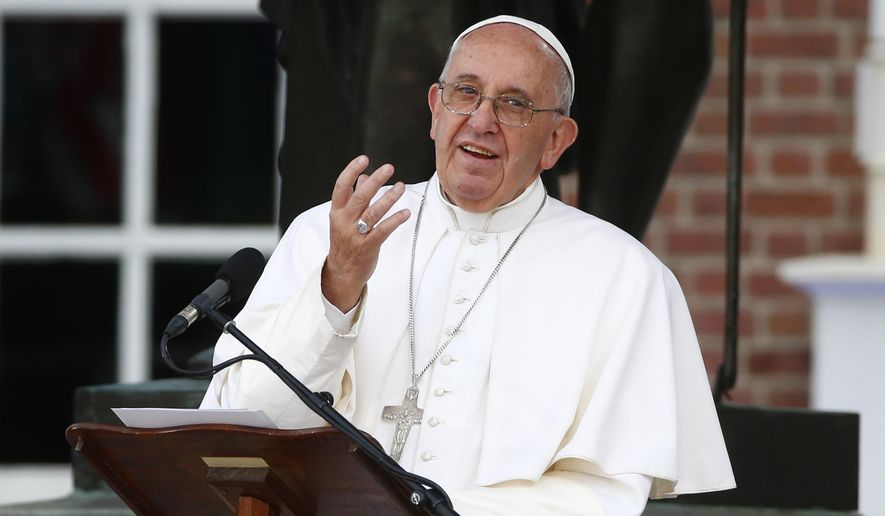 Pope Francis delivers his speech in front of Independence Hall, Saturday, Sept. 26, 2015, in Philadelphia. (Tony Gentile/Pool Photo via AP)