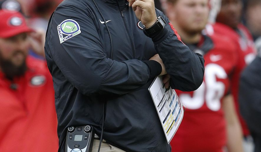 Georgia head coach Mark Richt looks on from the sidelines during in the first half of an NCAA college football game against Southern, Saturday, Sept. 26, 2015, in Athens, Ga. (AP Photo/John Bazemore)