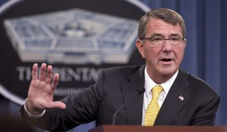 Defense Secretary Ash Carter speaks during a news conference at the Pentagon, in this Aug. 20, 2015, file photo. (AP Photo/Manuel Balce Ceneta, File)
