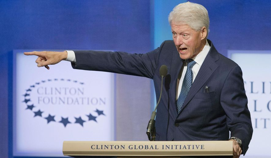 Former President Bill Clinton speaks at the Clinton Global Initiative, Sunday, Sept. 27, 2015  in New York. (AP Photo/Mark Lennihan)
