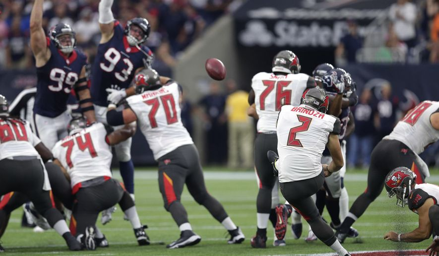 Tampa Bay Buccaneers' Kyle Brindza (2) kicks a 58-yard field goal against the Houston Texans during the first half of an NFL football game Sunday, Sept. 27, 2015, in Houston. (AP Photo/David J. Phillip)