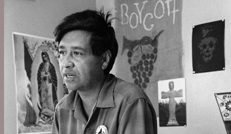 FILE - This 1965 file photo shows Cesar Chavez, farm worker labor organizer and leader of the California grape strike, in an office in California works from an office in 1965. About 1,000 people gathered in California on Saturday, Sept. 26, 2015, to celebrate the 50th anniversary of the labor strike that led to the creation of the nation's first farmworkers' union. The 5-year strike headed by Cesar Chavez led to an international boycott and the creation of United Farm Workers. (AP Photo, George Brich, File)