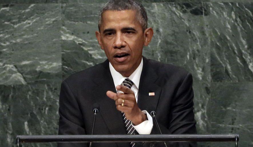 President Barack Obama addresses the 2015 Sustainable Development Summit, Sunday, Sept. 27, 2015, at United Nations headquarters. (AP Photo/Richard Drew)