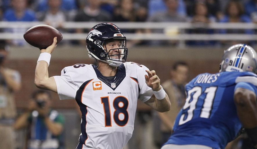 Denver Broncos quarterback Peyton Manning passes during the first half of an NFL football game against the Detroit Lions, Sunday, Sept. 27, 2015, in Detroit. (AP Photo/Duane Burleson)