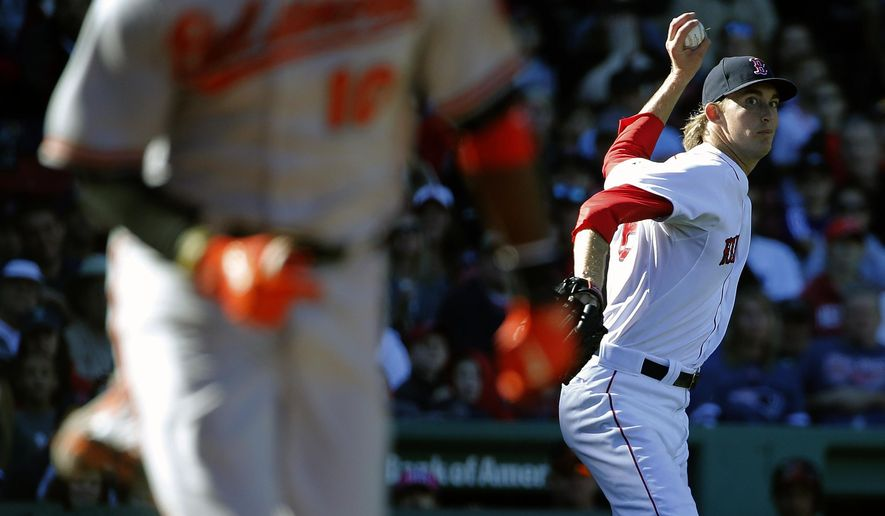 Boston Red Sox's Henry Owens, right, throws to first base on an infield single by Baltimore Orioles' Adam Jones, foreground, during the sixth inning of a baseball game in Boston, Sunday, Sept. 27, 2015. (AP Photo/Michael Dwyer)