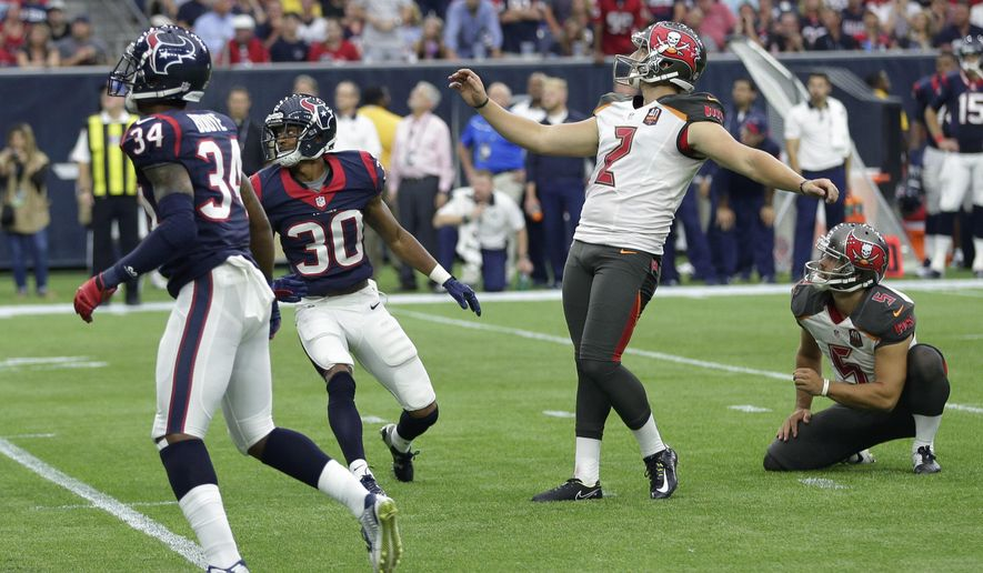 Tampa Bay Buccaneers' Kyle Brindza (2) reacts as he misses a field-goal attempt against the Houston Texans during the second half of an NFL football game Sunday, Sept. 27, 2015, in Houston. (AP Photo/David J. Phillip)