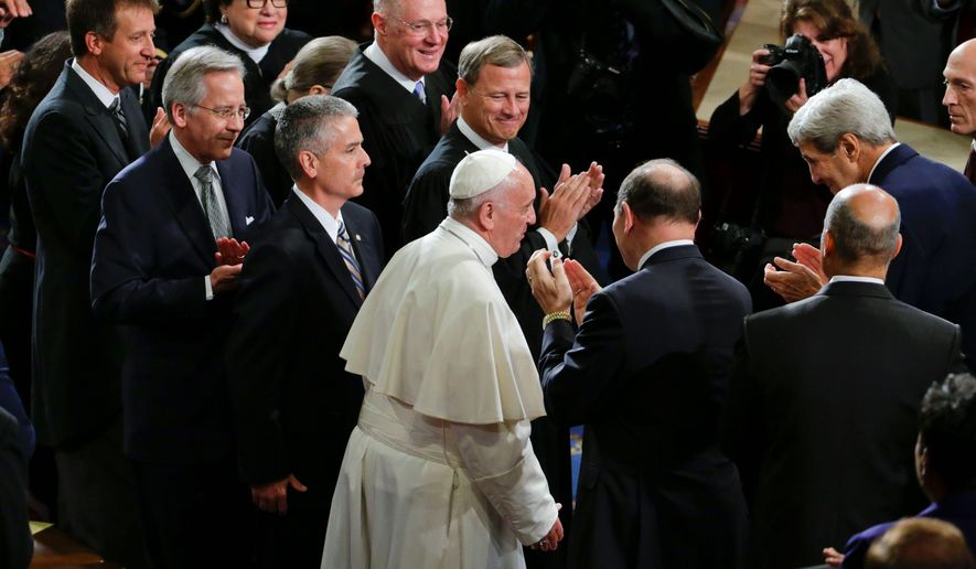 Among the powerful to have a front seat for Pope Francis' address in Washington were Supreme Court Justices Sonia Sotomayor, Ruth Bader Ginsburg and Anthony M. Kennedy, Chief Justice John G. Roberts Jr. and Secretary of State John F. Kerry. (Associated Press)