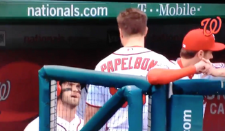 Washington Nationals closer Jonathan Papelbon and outfielder Bryce Harper argue before getting into a physical altercation Sunday.