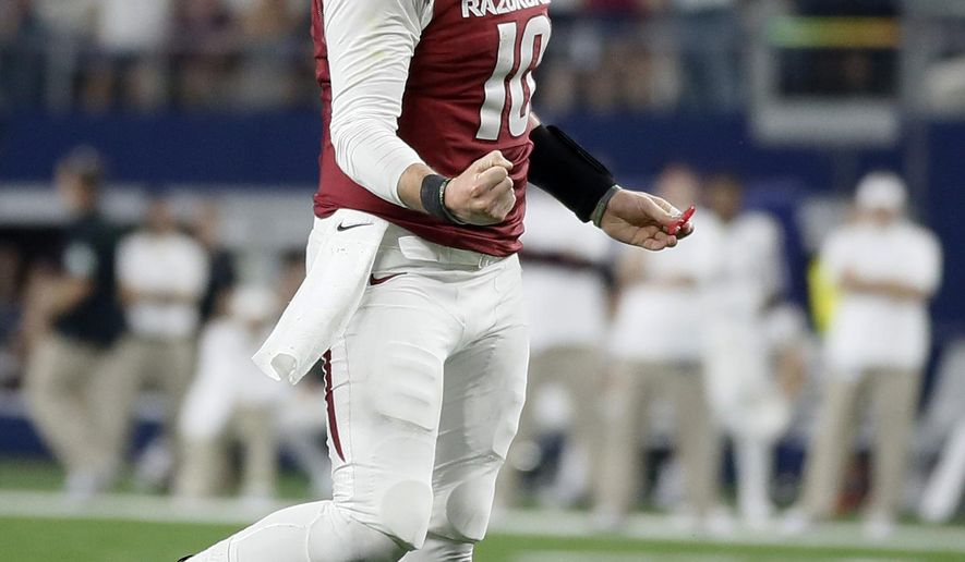 Arkansas quarterback Brandon Allen celebrates after Rawleigh Williams scored a touchdown on a running play during the second half of an NCAA college football game against Texas A&M on Saturday, Sept. 26, 2015, in Arlington, Texas. Texas A&M won 28-21. (AP Photo/Tony Gutierrez)