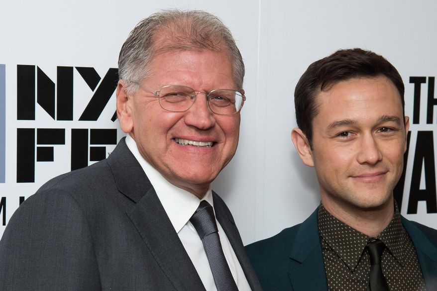 """Robert Zemeckis, left, and Joseph Gordon-Levitt attend the New York Film Festival opening night gala premiere for """"The Walk"""" at Alice Tully Hall on Saturday, Sept. 26, 2015, in New York. (Photo by Charles Sykes/Invision/AP)"""