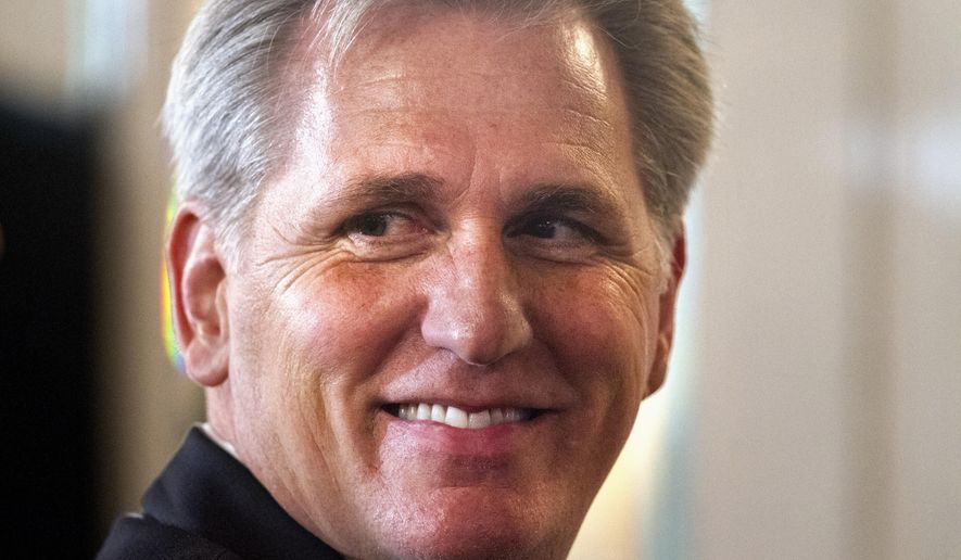 House Majority Leader Kevin McCarthy of Calif. smiles after finishing a speech about foreign policy, Monday, Sept. 28, 2015, during the John Hay Initiative, at a hotel in Washington. (AP Photo/Jacquelyn Martin)