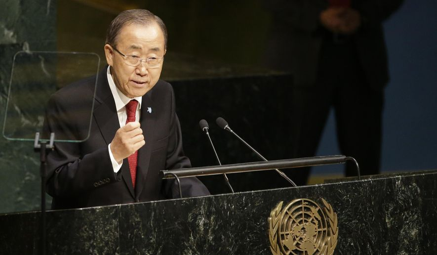 United Nations Secretary-General Ban Ki-moon addresses the 70th session of the United Nations General Assembly at U.N. headquarters, Monday, Sept. 28, 2015. (AP Photo/Mary Altaffer) ** FILE **