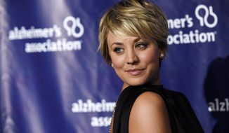 "Actress Kaley Cuoco turns back for photographers at the 23rd annual ""A Night at Sardi's"" event to benefit the Alzheimer's Association, at the Beverly Hilton Hotel in Beverly Hills, Calif., on March 18, 2015. (Chris Pizzello/Invision/AP) **FILE**"