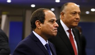 Egypt's President Abdel Fattah el-Sisi arrives for the 70th session of the United Nations General Assembly at U.N. headquarters, Monday, Sept. 28, 2015. (AP Photo/Jason DeCrow)