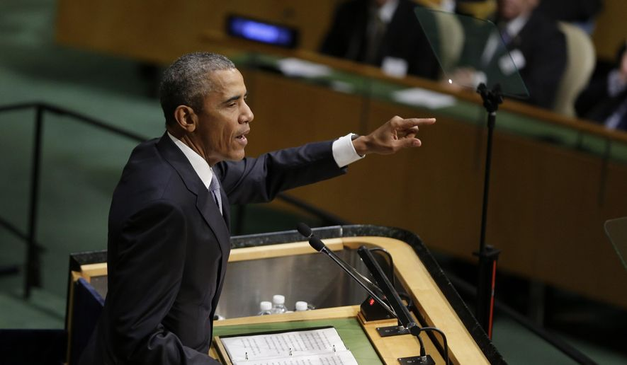 President Obama speaks during the 70th session of the United Nations General Assembly at U.N. headquarters on Sept. 28, 2015. (Associated Press)